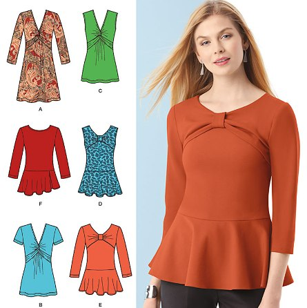 Simplicity 1539 Misses' Knit Tunic or Top and Peplum Tops