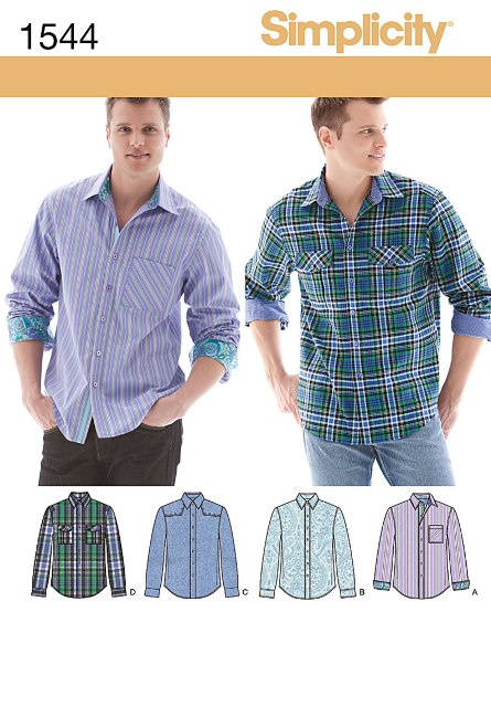 Simplicity 1544 Men's Shirt with Fabric Variations