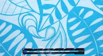 sky/white silhouette leaf print rayon/lycra knit