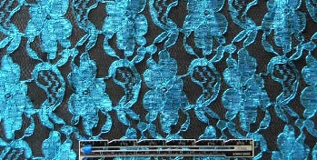 NY designer French lace - cyan/black