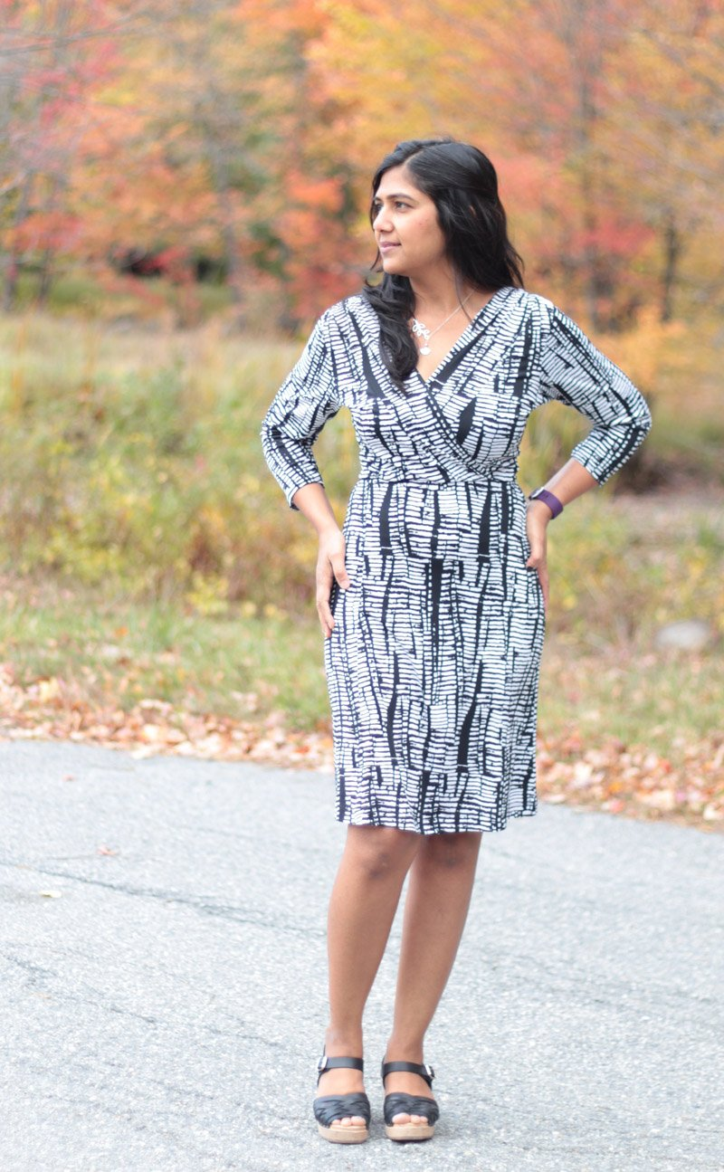 Knitting Pattern Wrap Dress : This is a pattern for a Faux Wrap - or a fixed wrap dress with a waist seam. ...
