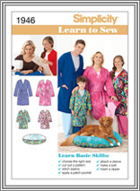 Simplicity 1946 Unisex Child's,Teen's, and Adult's Robe and Pet Bed