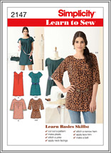 Simplicity 2147 Misses' Mini-Dress, Tunic and Belt