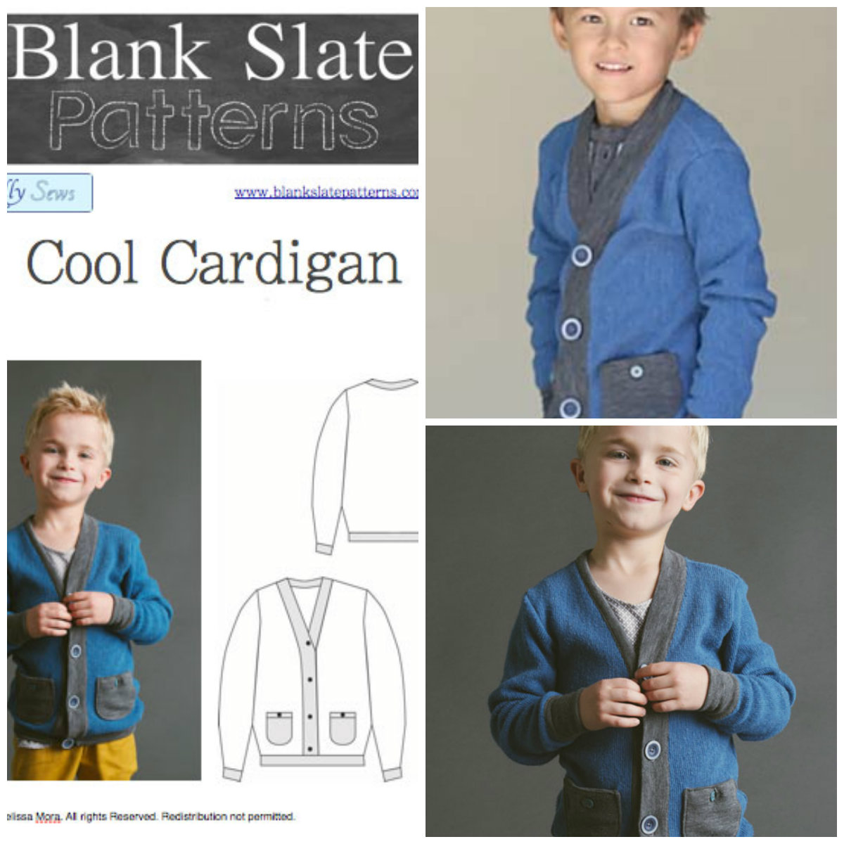 Blank Slate Child's Cardigan Downloadable Pattern Cool Cardigan