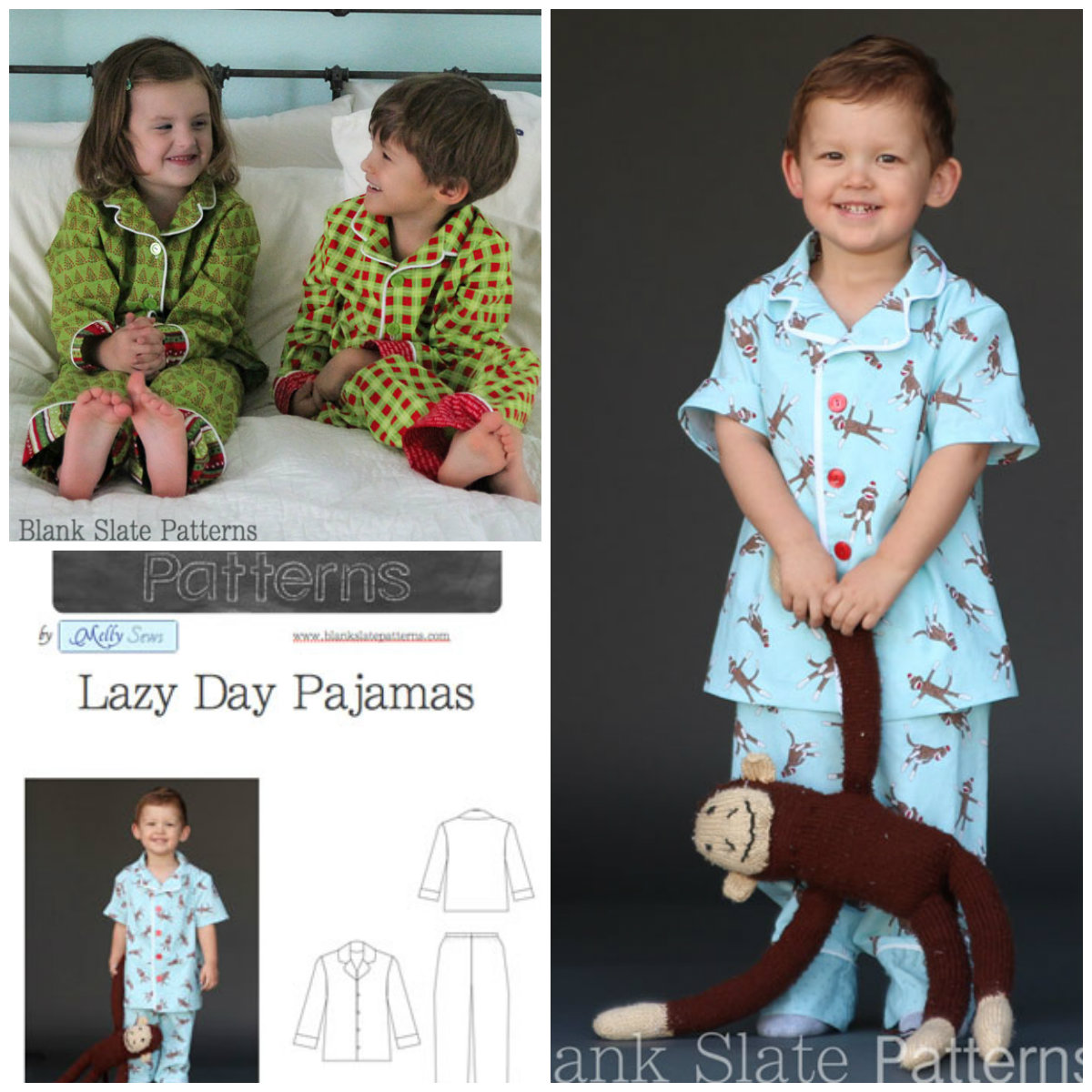 Blank Slate Child's Pajamas Downloadable Pattern Lazy Day Pajamas