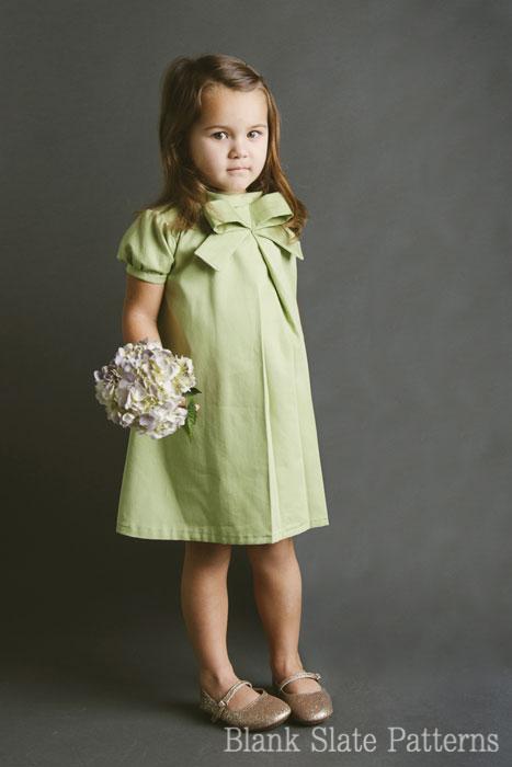 Blank Slate Child's Dress Downloadable Pattern LIttle Bow Pleat Dress