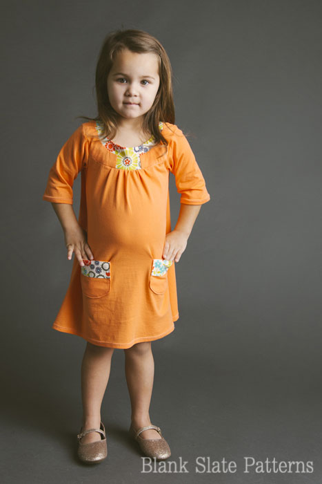 Blank Slate Child's Dress Downloadable Pattern Pristine Swing Dress