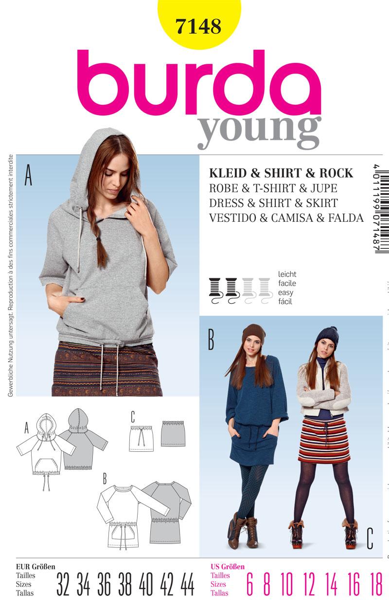 Burda Misses Top, dress and skirt 7148
