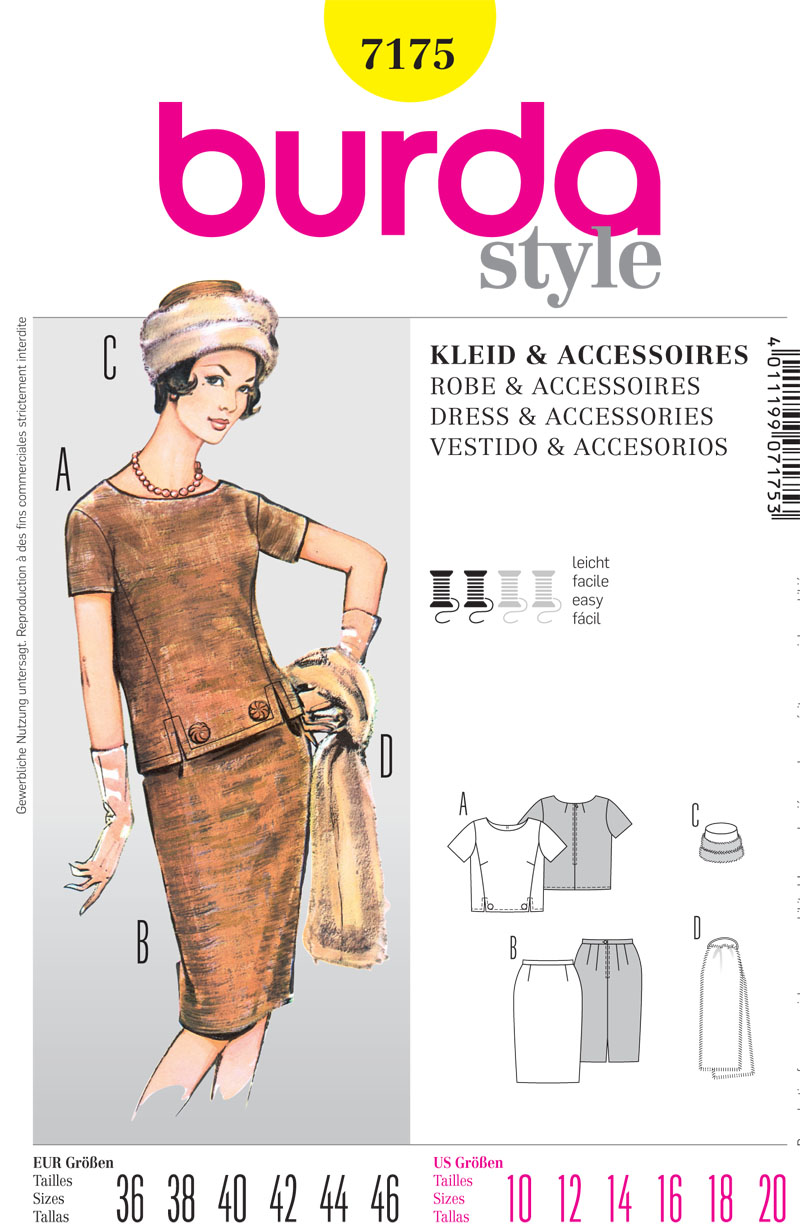 Burda Misses Top, Skirt and accessories 7175