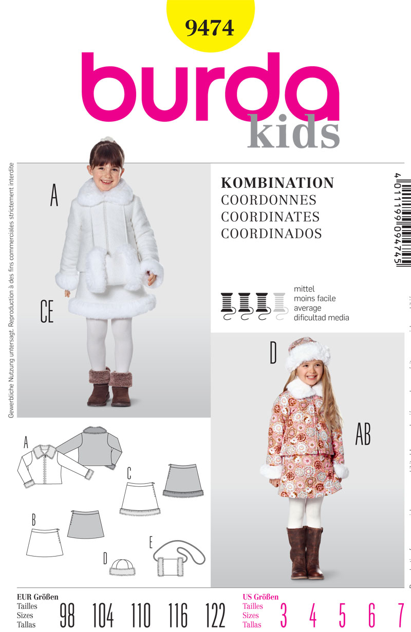 Burda Childrens Coat, Skirt and Accessories 9474