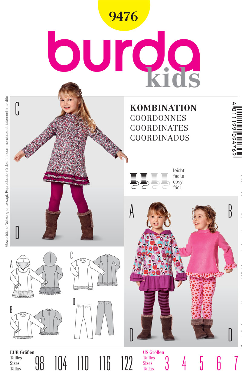 Burda  Childrens Tunic or Dress and Leggings 9476