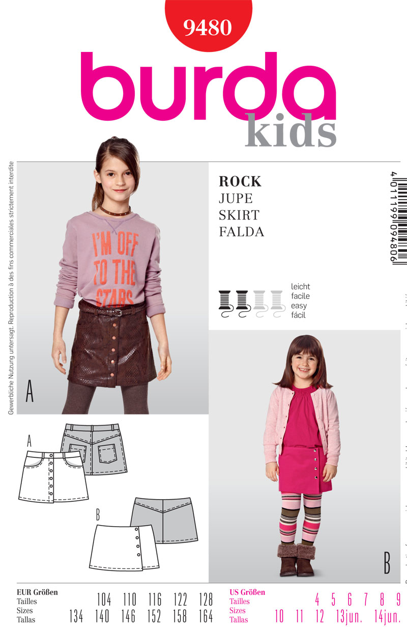 Burda  Children's Skirt 9480