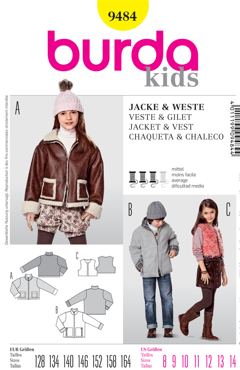 Burda Childrens Jacket and Vest 9484