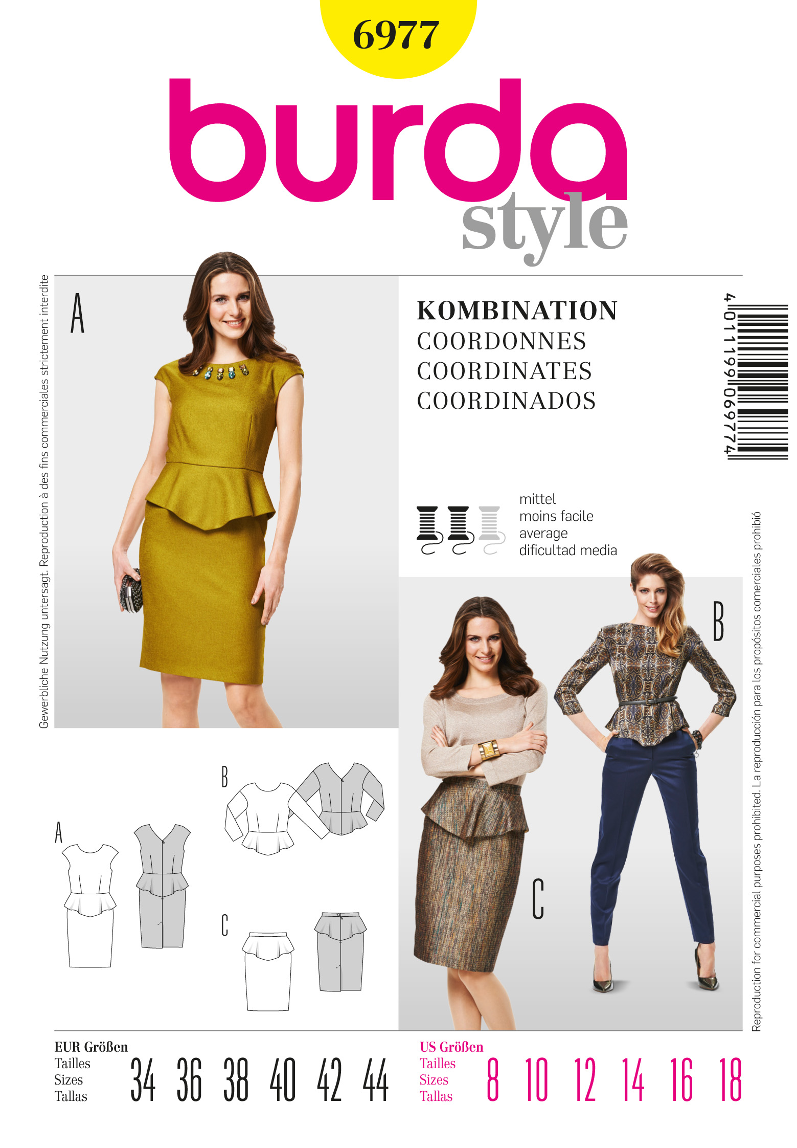 Burda Peplum Top and Skirt 6977