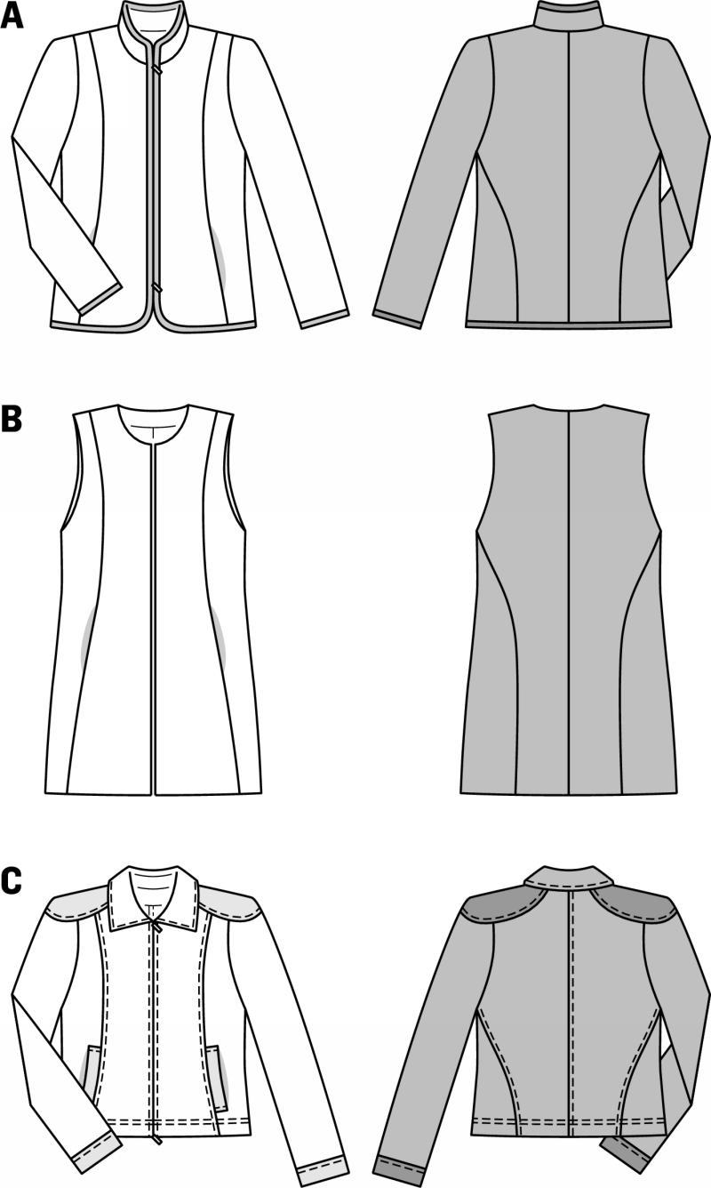Drawing Lines With Zipper : Burda jacket with zip fastener