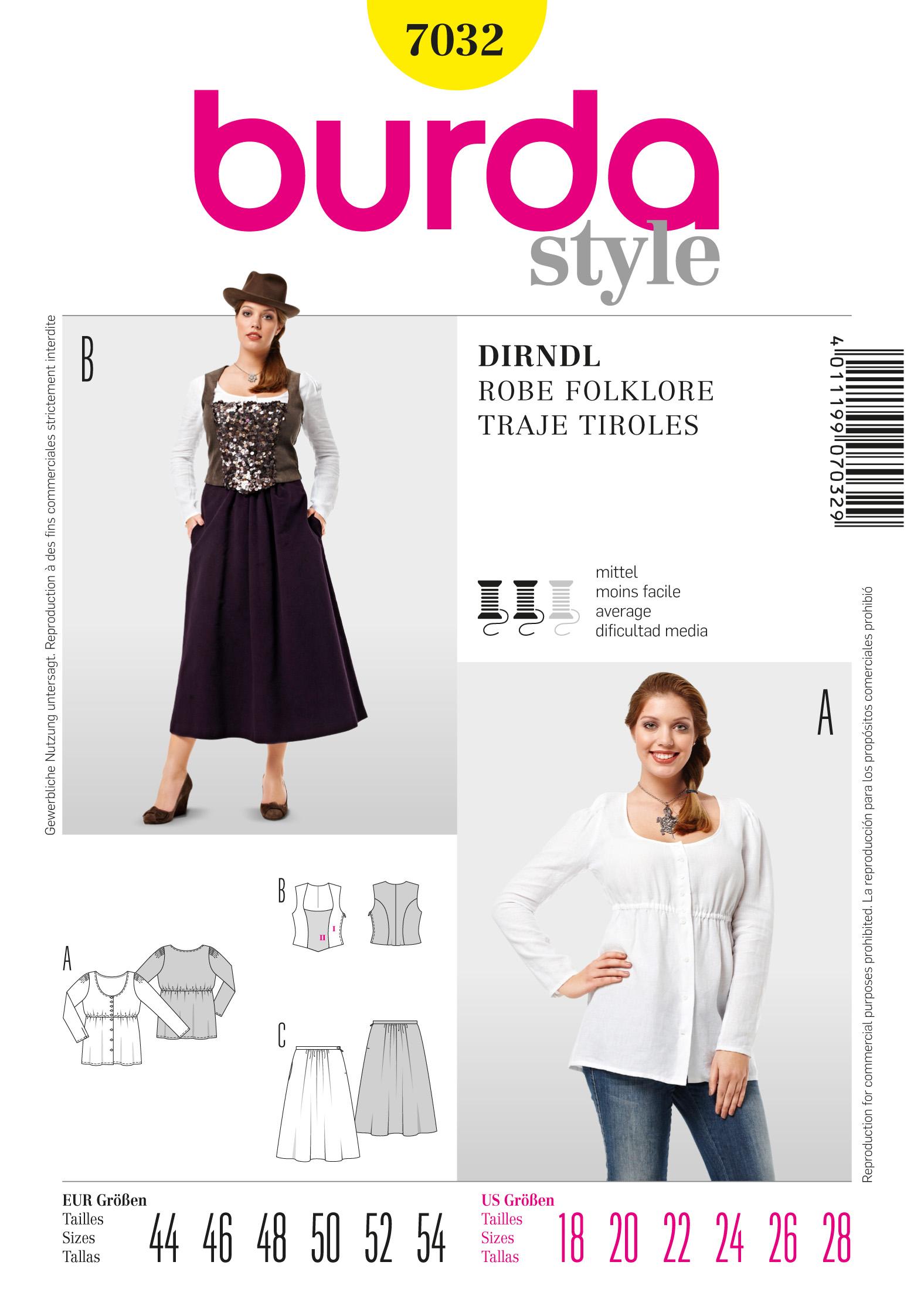 Burda Dirndl Traditional Skirt 7032