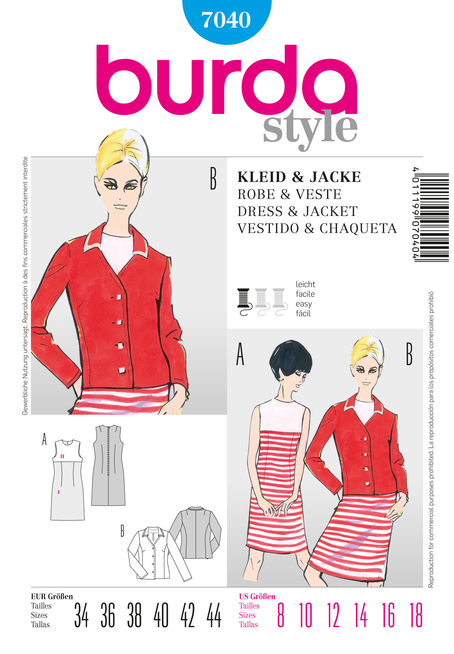 Burda Vintage Dress and Jacket 7040