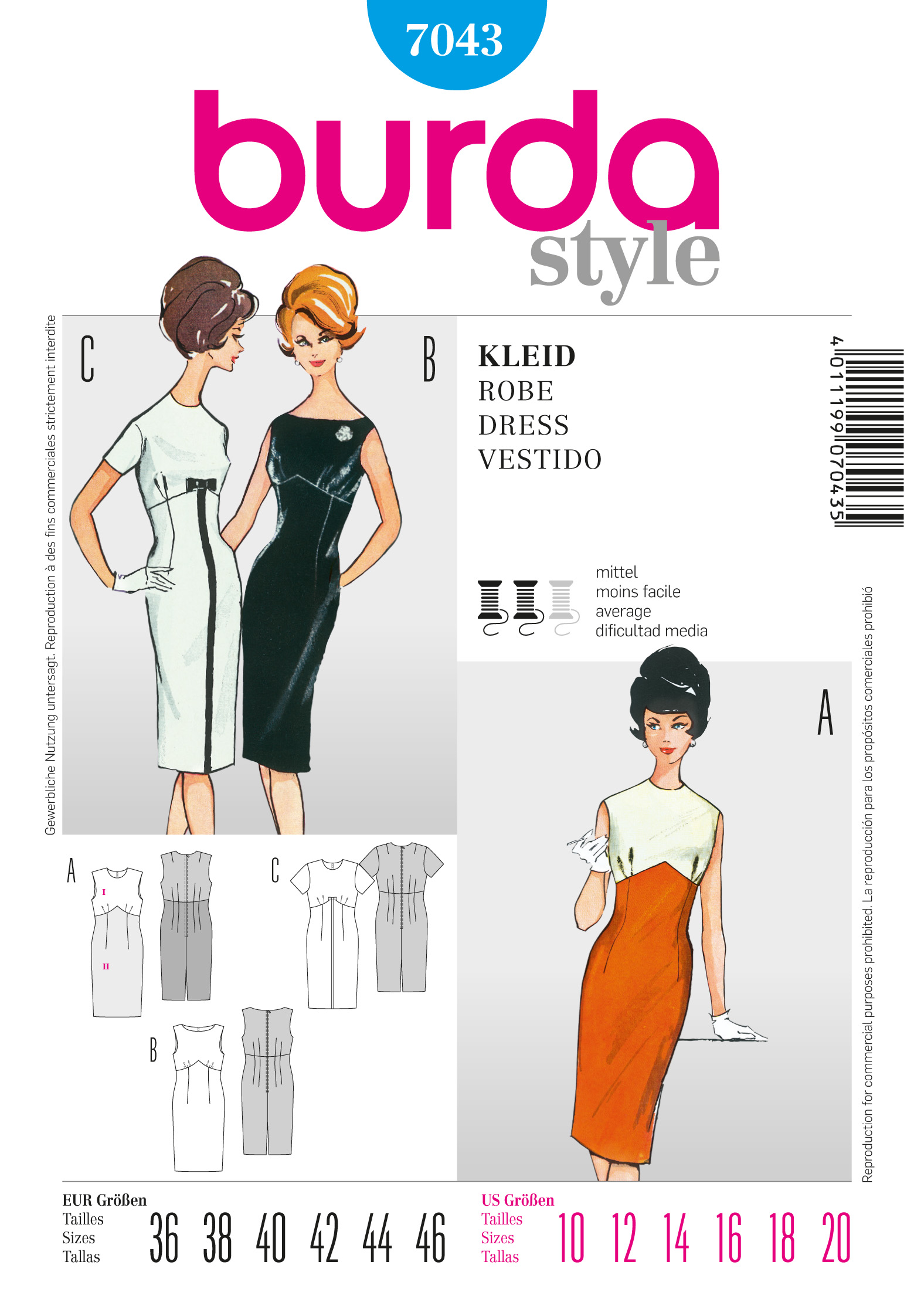 Burda Vintage Dress 7043