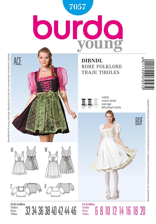 Burda Misses Costume Dresses and blouses 7057