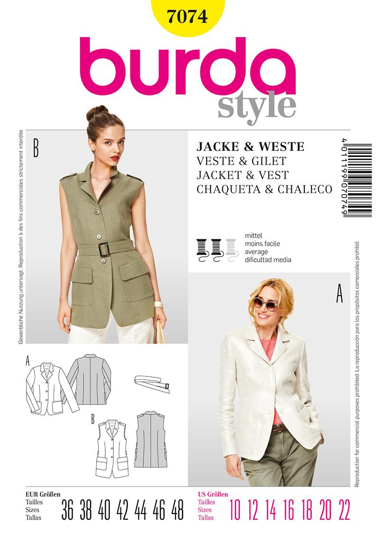 Burda Misses Jacket and Vest 7074