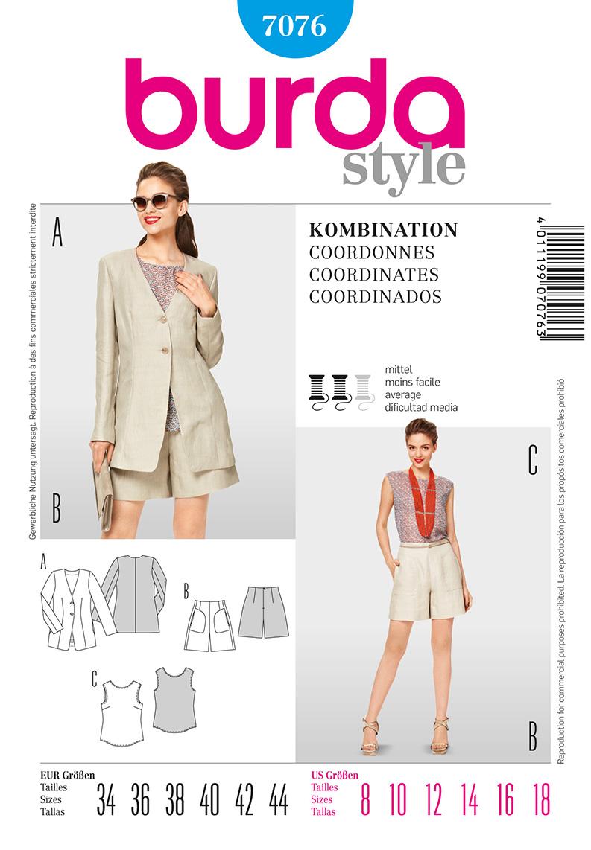 Burda Misses Jacket, shorts and top 7076