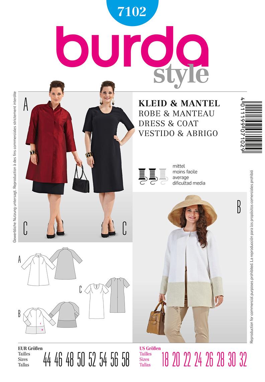 Burda Women's Dress and Coat 7102