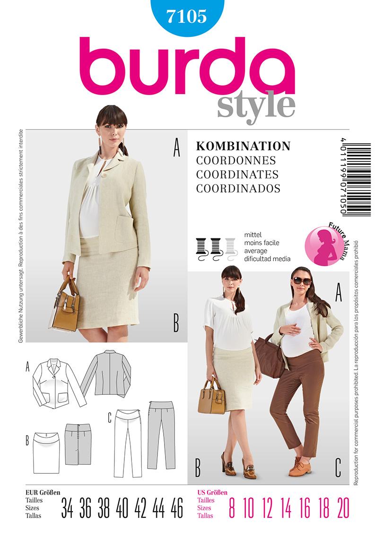 Burda Maternity Coordinates: Blazer, skirt and pants  7105