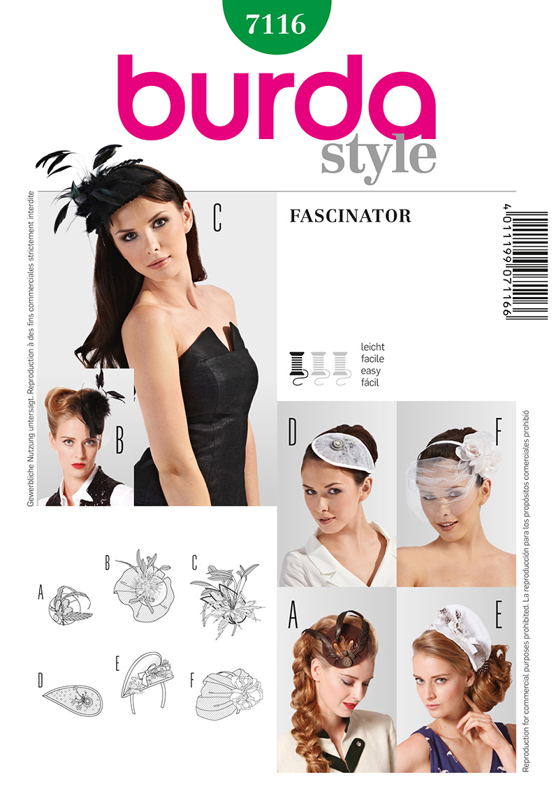 Burda Fascinator Headpieces 7116