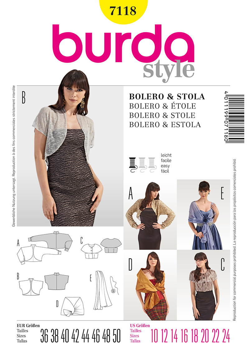 Burda Misses and Women's Bolero and Stole 7118