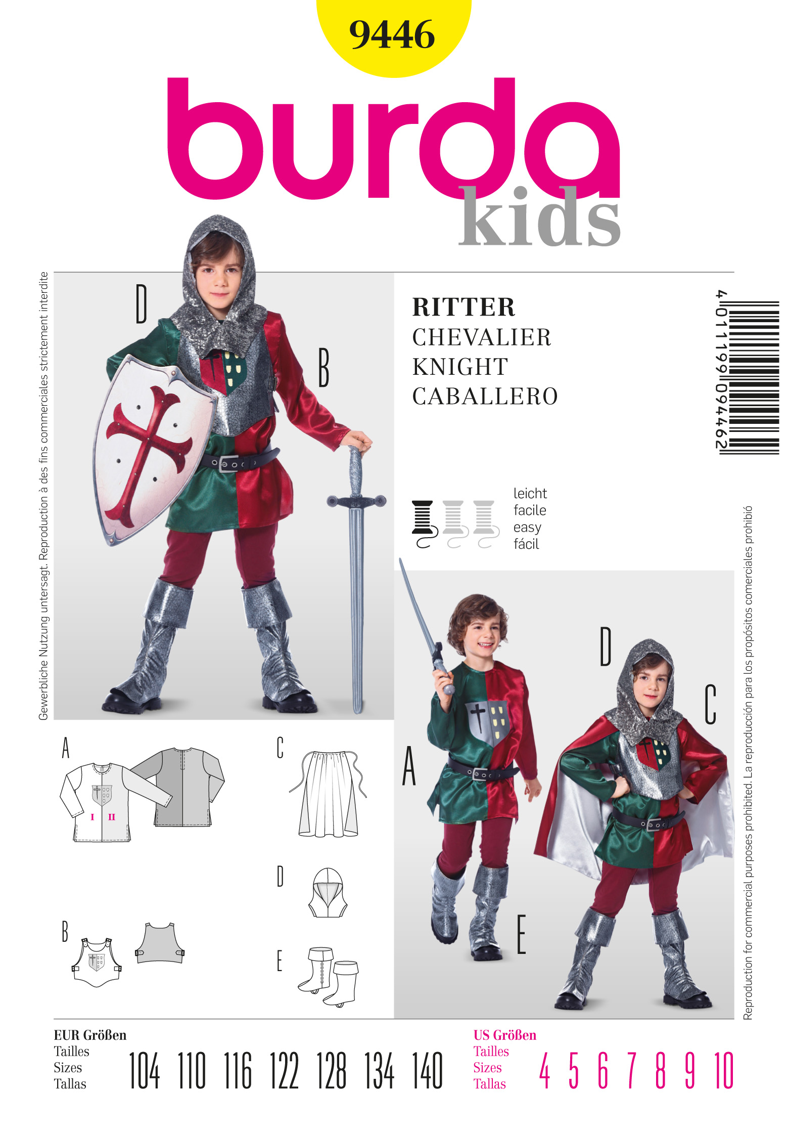 Burda Knight Costume 9446