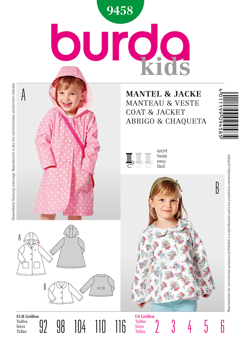 Burda Toddler and Children's Coat and Jacket 9458