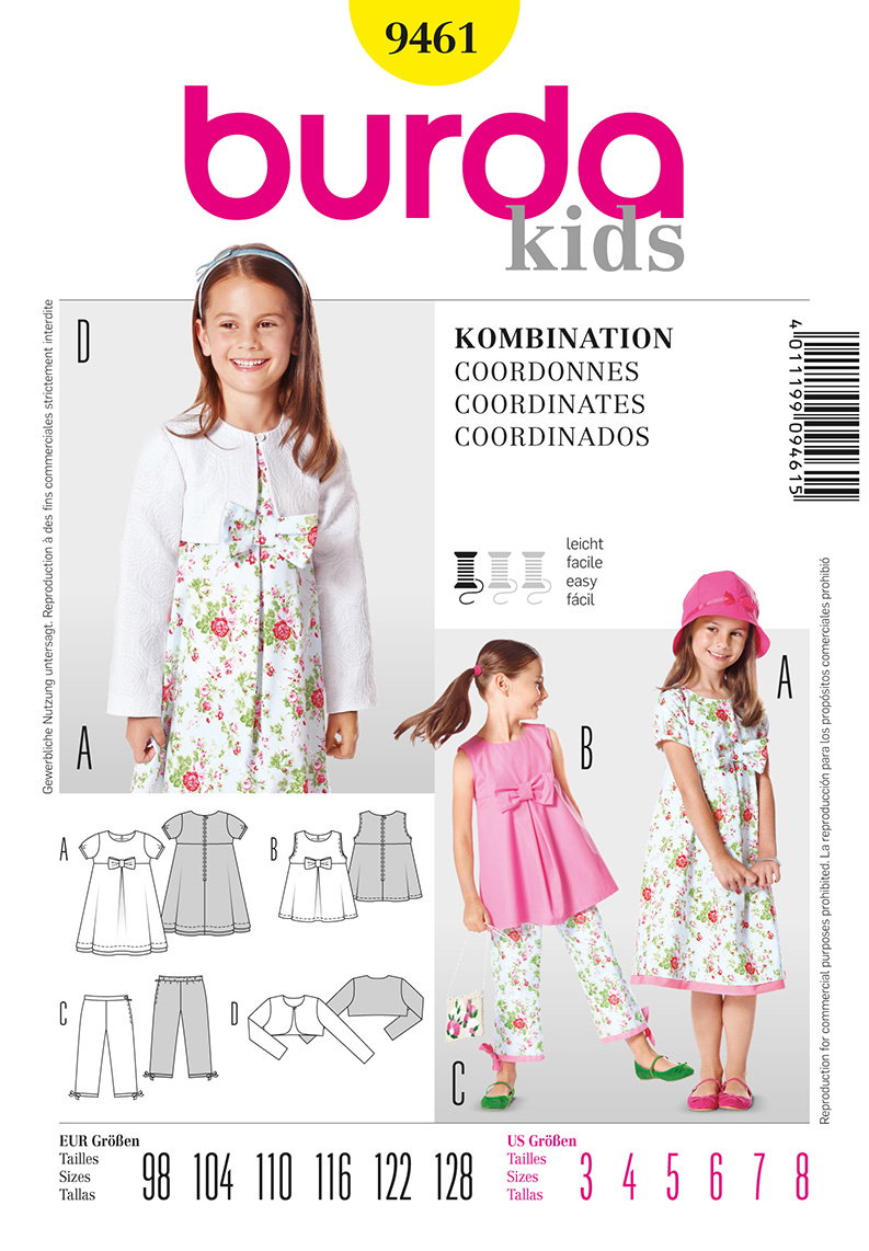 Burda Children's Dress, Tunic, Pants, and Bolero 9461