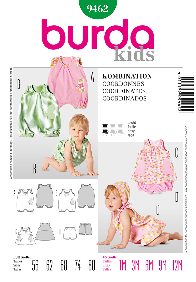 Burda Baby Jumpsuit, Panties, and Dress 9462