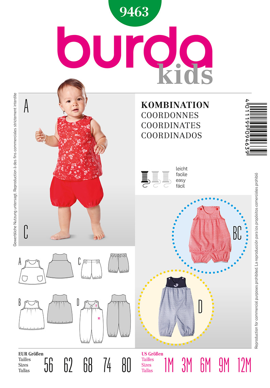 Burda Baby Jumpsuit, shirt and Dress  9463