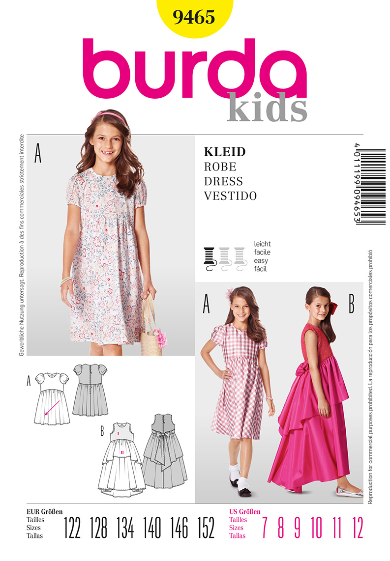 Burda Children's Dress and Formal Dress 9465