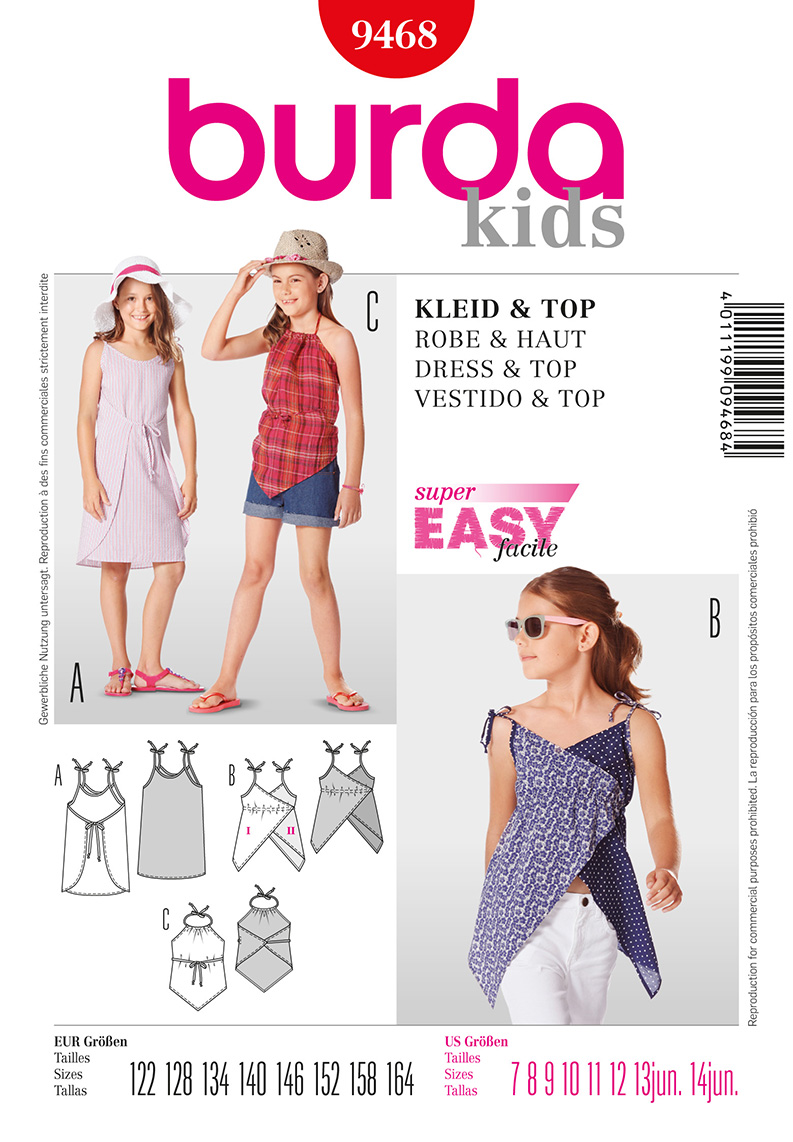 Burda Children's and Juniors Dress and Top 9468