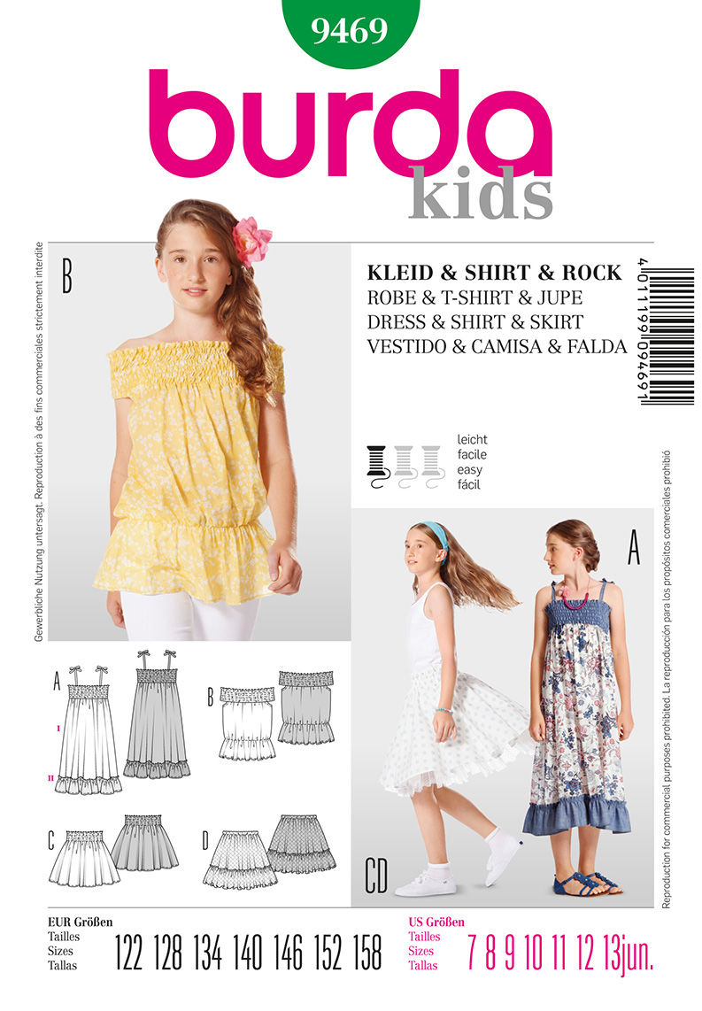 Burda Children's and Juniors Dress,Top, and Skirt  9469