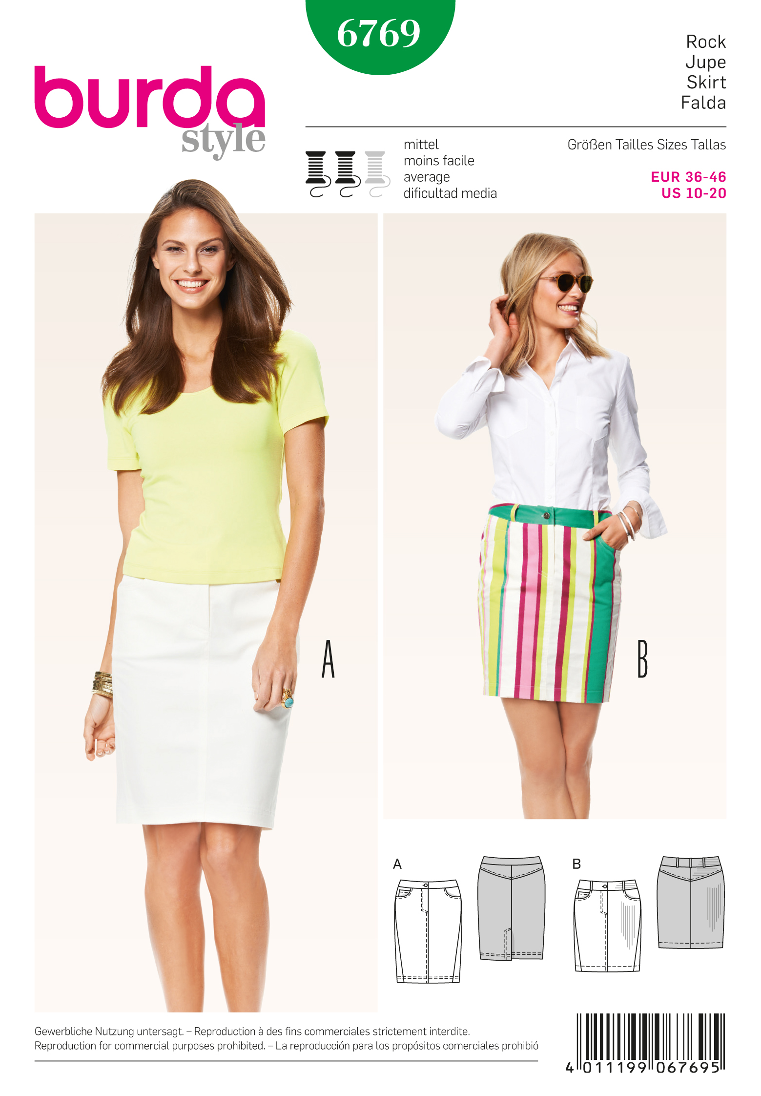 Burda 6769 Burda Style Skirts sewing pattern