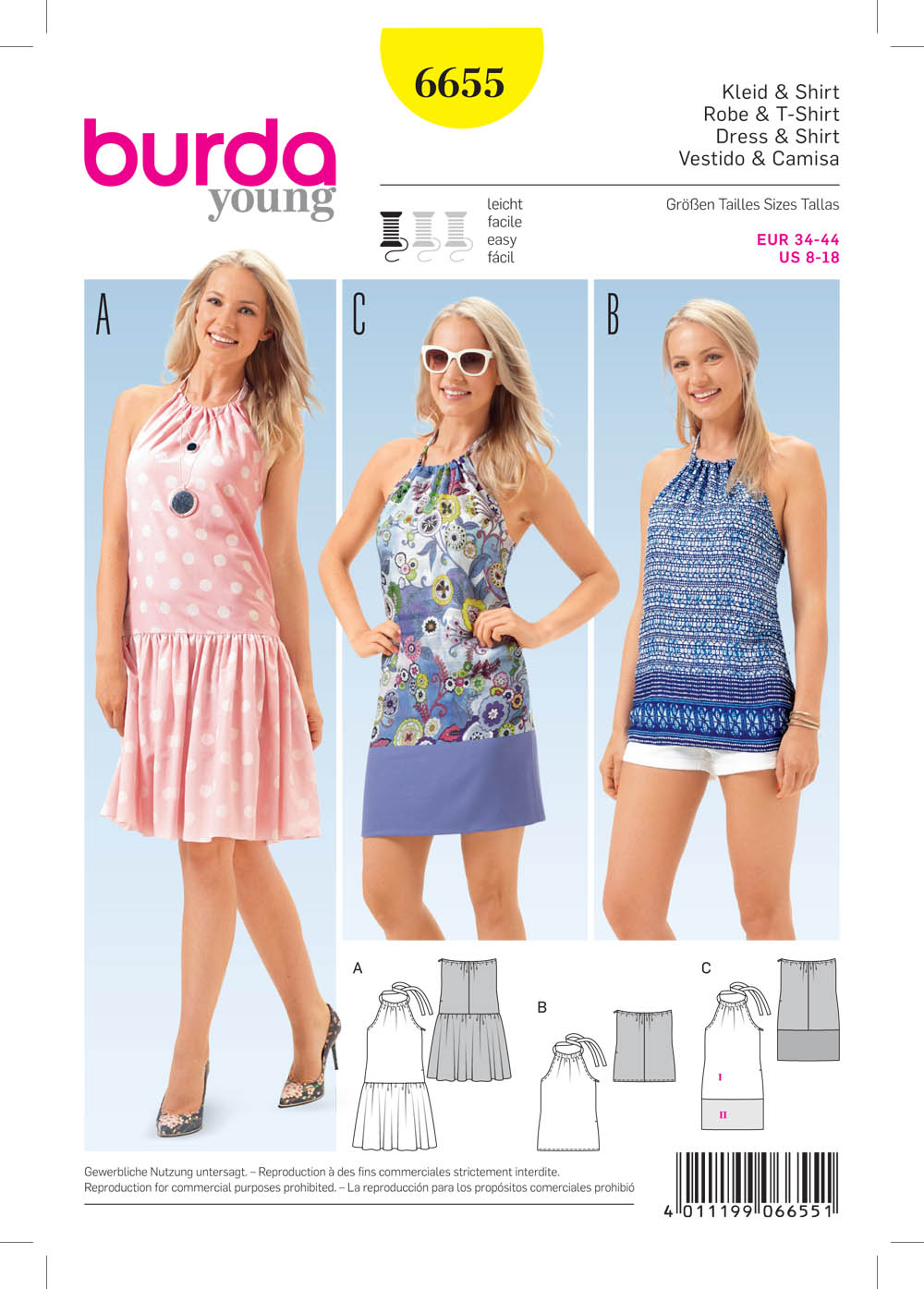 Burda 6655 Misses Dress And Shirt Sewing Pattern