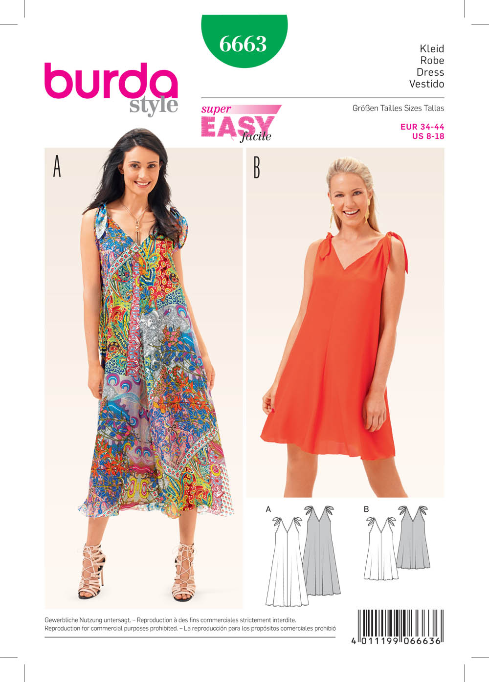 burda 6663 misses dress sewing pattern