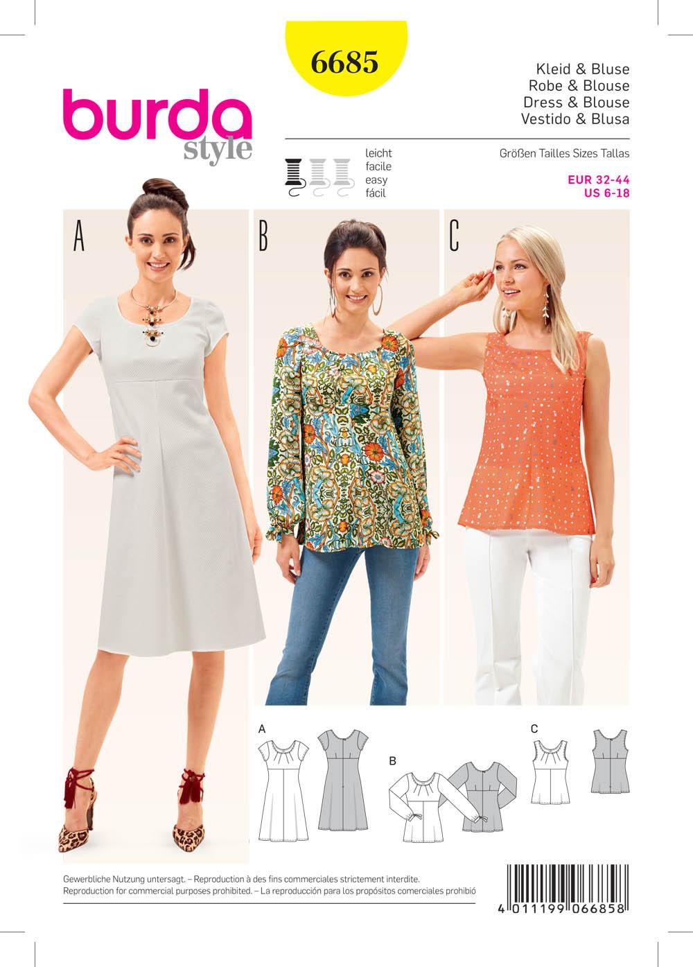Patterns burda dresses tops 6685 women s dress and