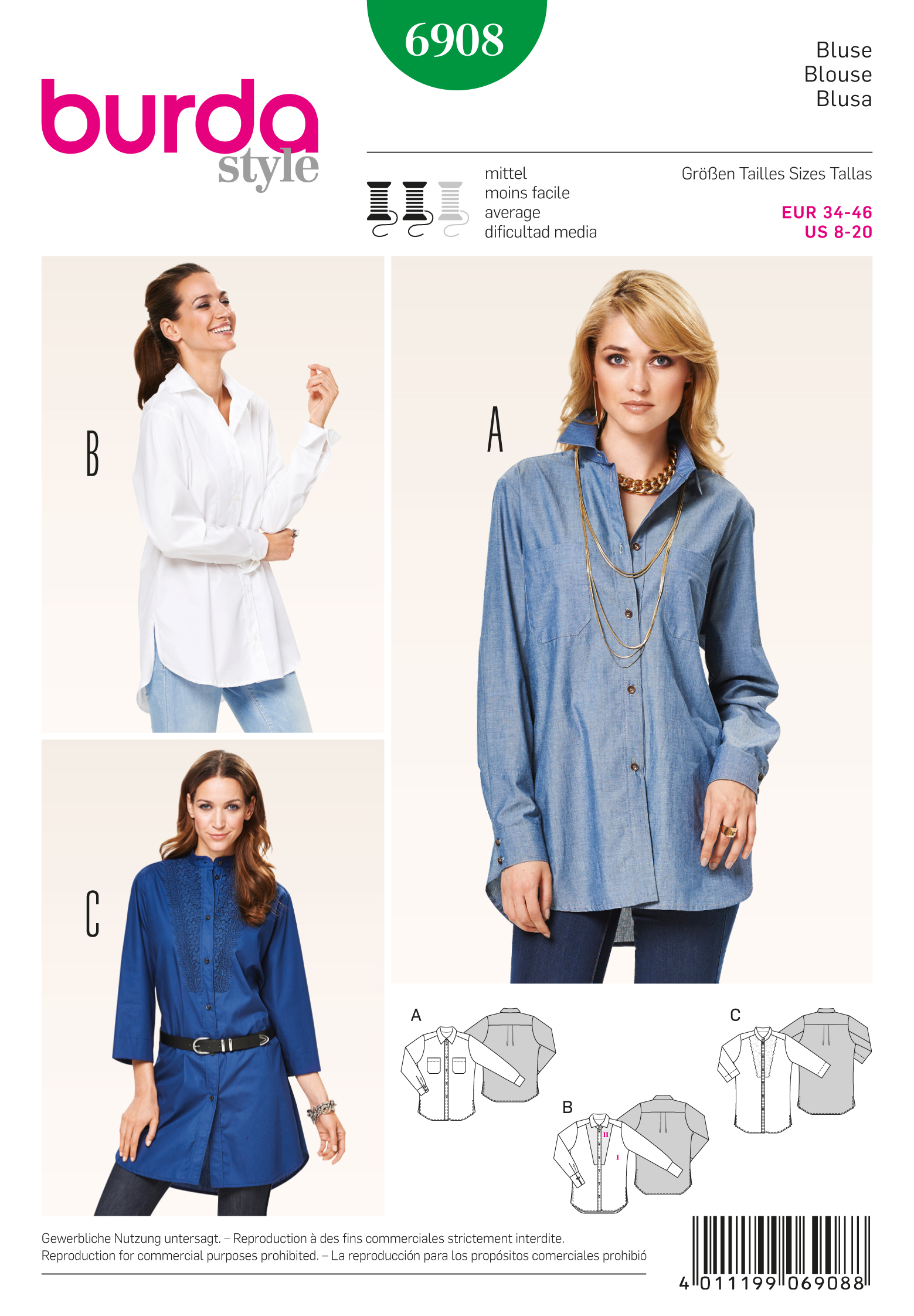 Burda Tops, Shirts, Blouses 6908