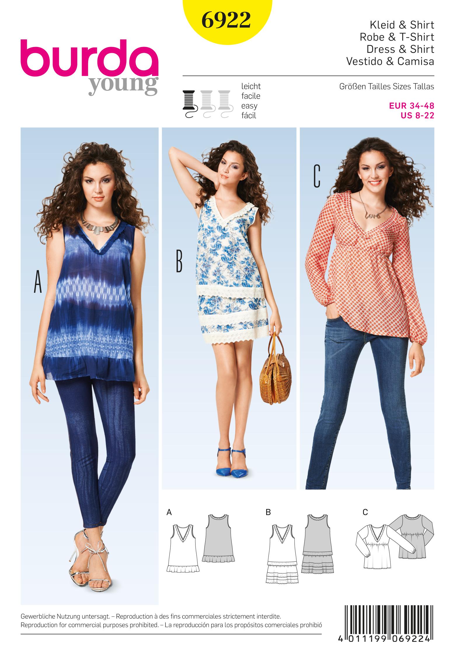 Burda Tops, Shirts, Blouses 6922