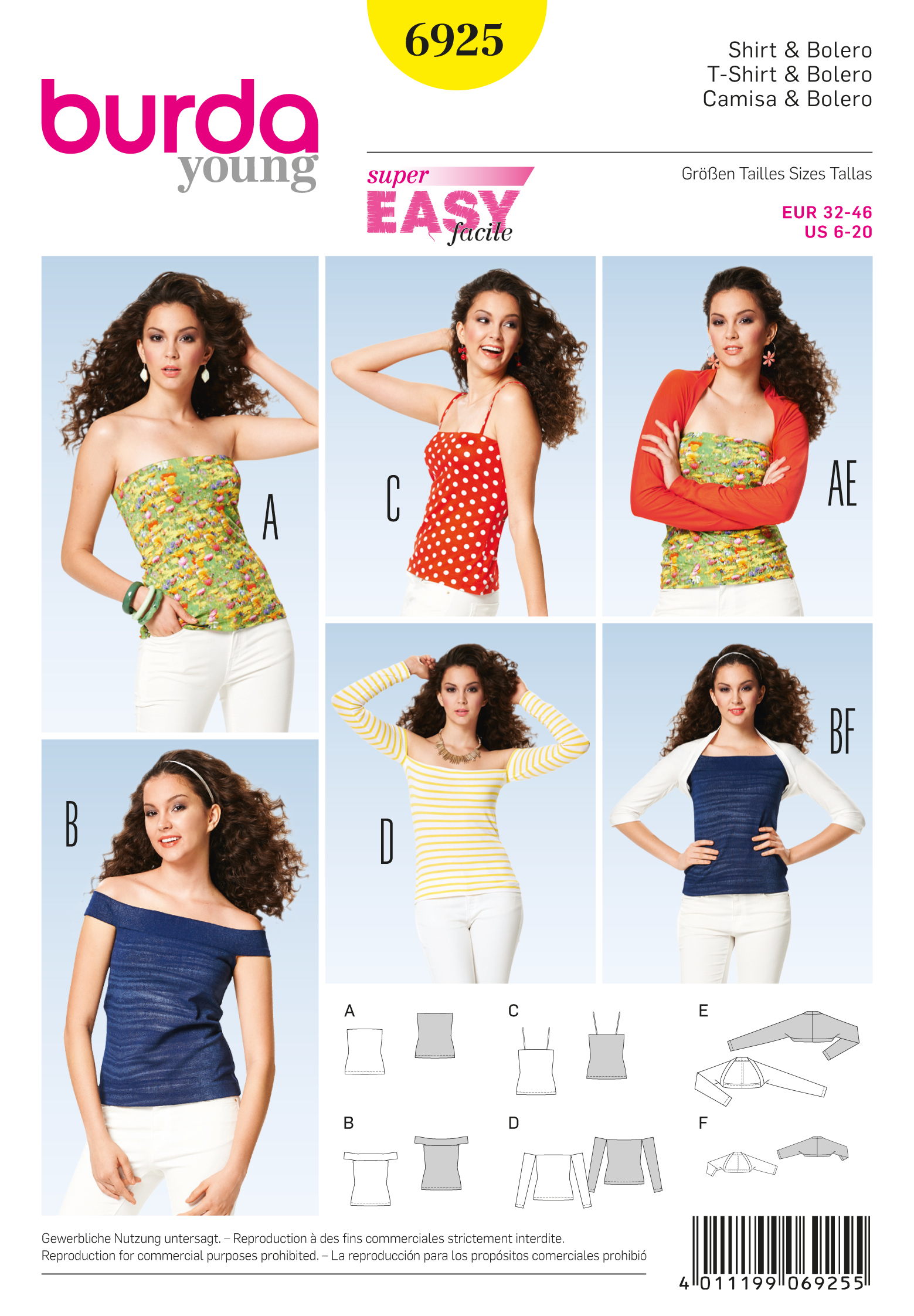 Burda Tops, Shirts, Blouses 6925