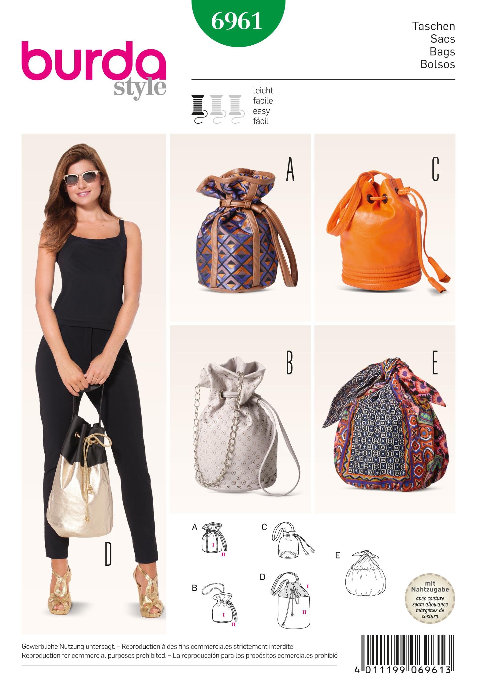 Burda Drawstring Bags 6961