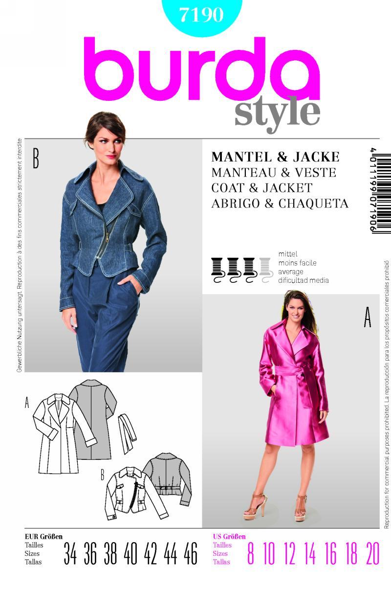 Burda coat and Jacket 7190