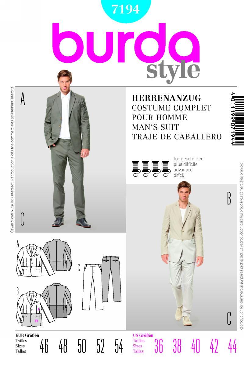 Burda Men's suit 7194