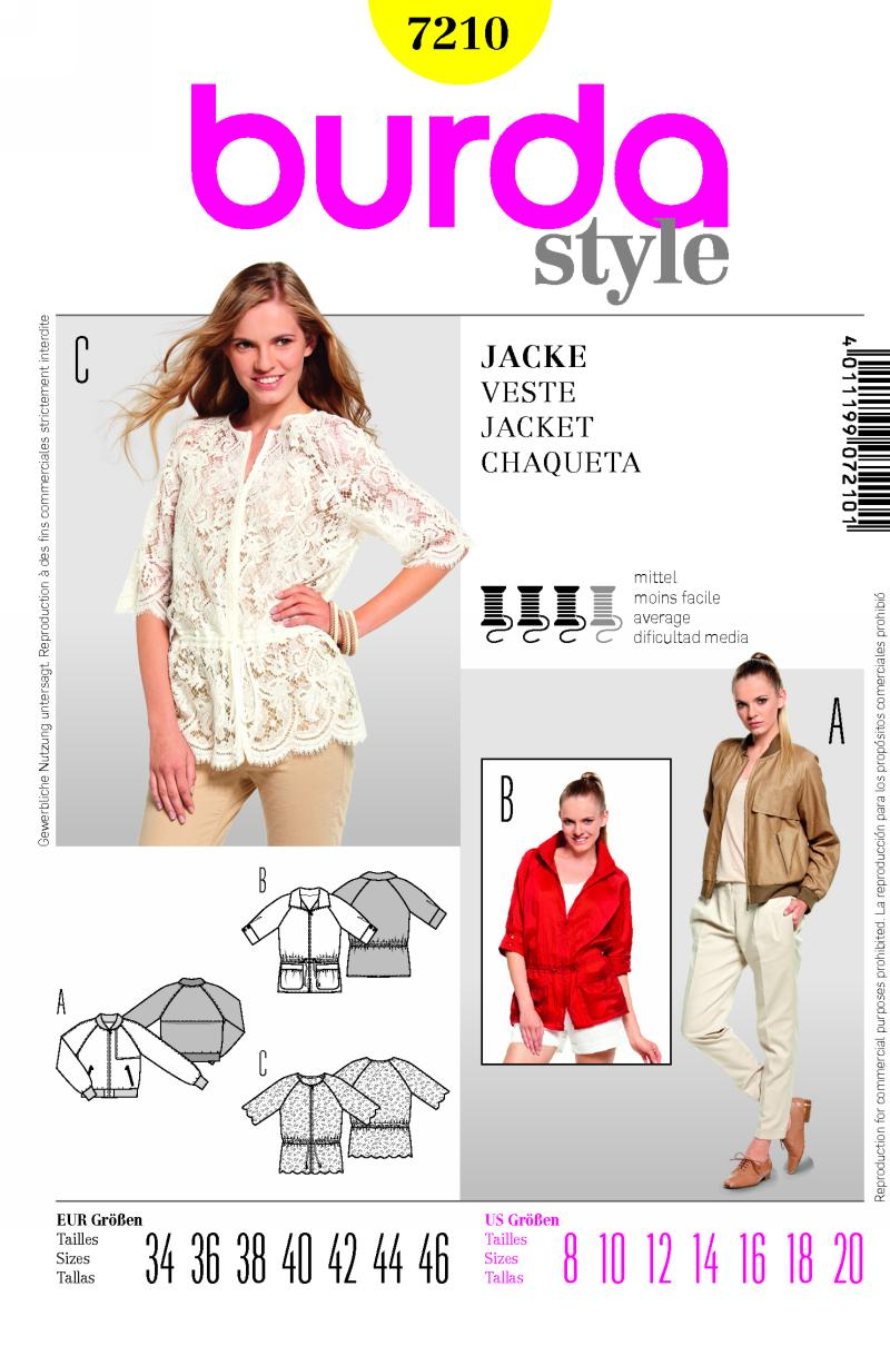 Burda Jacket in three styles 7210