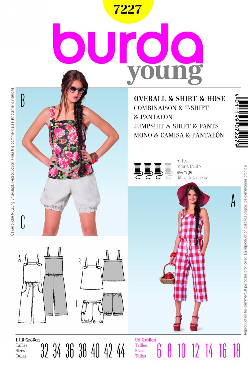 Burda jumpsuit and shorts 7227