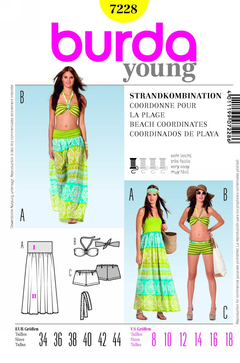 Burda Beach coordinates; bathing suit, skirt/dress 7228